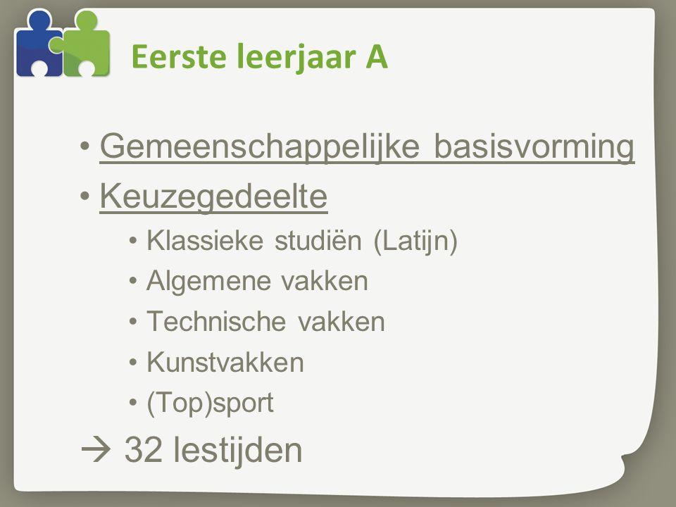 Eerste leerjaar A Gemeenschappelijke basisvorming Keuzegedeelte Klassieke studiën (Latijn) Algemene vakken Technische vakken Kunstvakken (Top)sport  32 lestijden