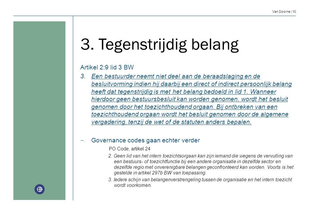 Van Doorne | 10 3. Tegenstrijdig belang Artikel 2:9 lid 3 BW 3.Een bestuurder neemt niet deel aan de beraadslaging en de besluitvorming indien hij daa