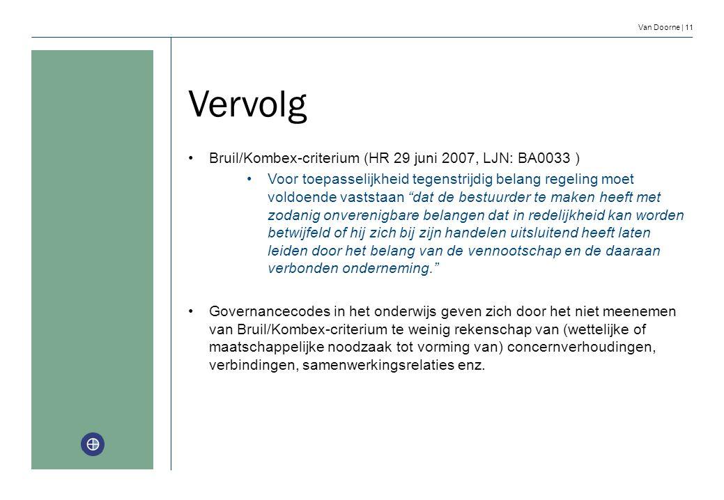 Van Doorne | 11 Vervolg Bruil/Kombex-criterium (HR 29 juni 2007, LJN: BA0033 ) Voor toepasselijkheid tegenstrijdig belang regeling moet voldoende vast