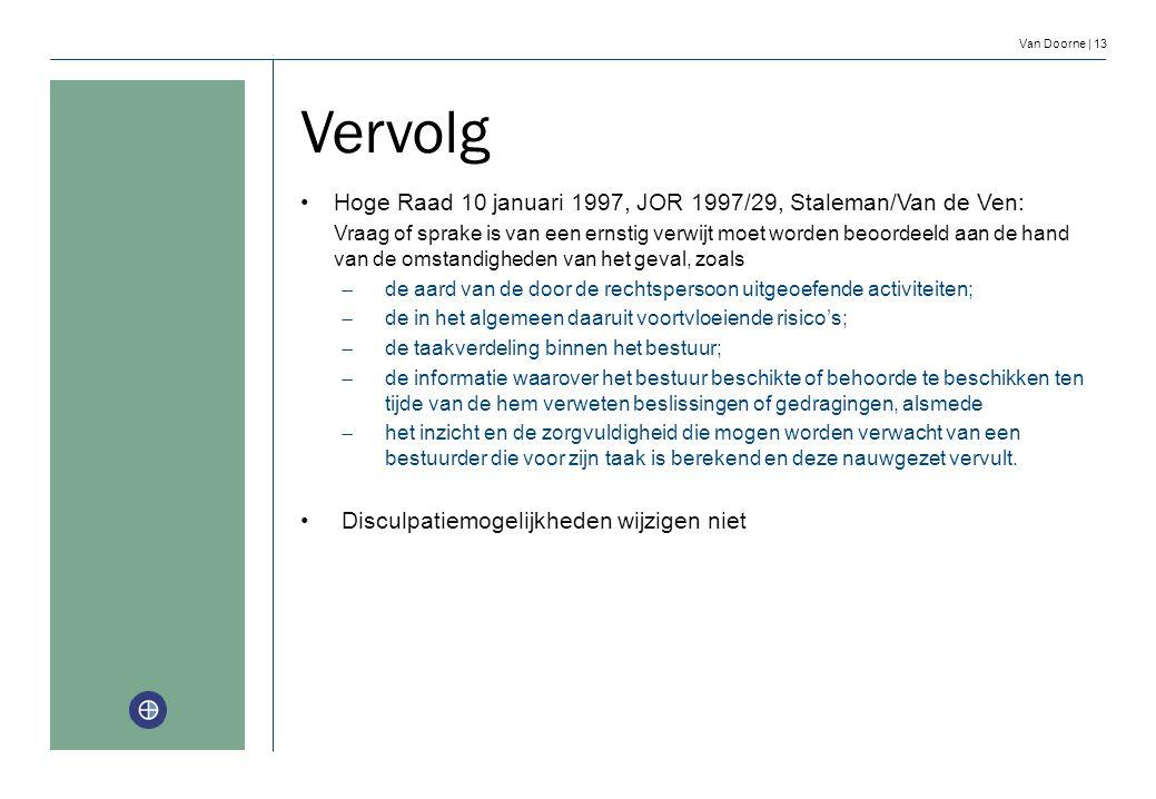 Van Doorne | 13 Vervolg Hoge Raad 10 januari 1997, JOR 1997/29, Staleman/Van de Ven: Vraag of sprake is van een ernstig verwijt moet worden beoordeeld