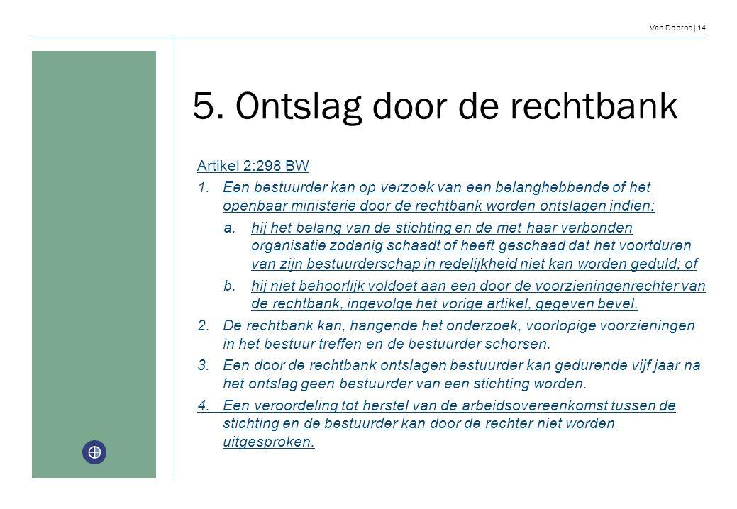 Van Doorne | 14 Artikel 2:298 BW 1.Een bestuurder kan op verzoek van een belanghebbende of het openbaar ministerie door de rechtbank worden ontslagen
