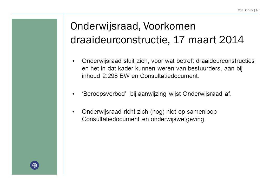 Van Doorne | 17 Onderwijsraad sluit zich, voor wat betreft draaideurconstructies en het in dat kader kunnen weren van bestuurders, aan bij inhoud 2:29