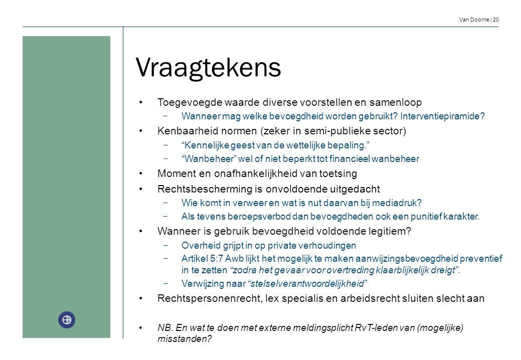 Van Doorne | 20 Vraagtekens Toegevoegde waarde diverse voorstellen en samenloop − Wanneer mag welke bevoegdheid worden gebruikt? Interventiepiramide?