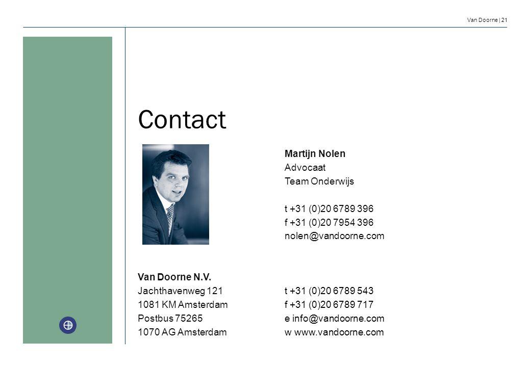 Van Doorne | 21 Contact Martijn Nolen Advocaat Team Onderwijs t +31 (0)20 6789 396 f +31 (0)20 7954 396 nolen@vandoorne.com Van Doorne N.V. Jachthaven