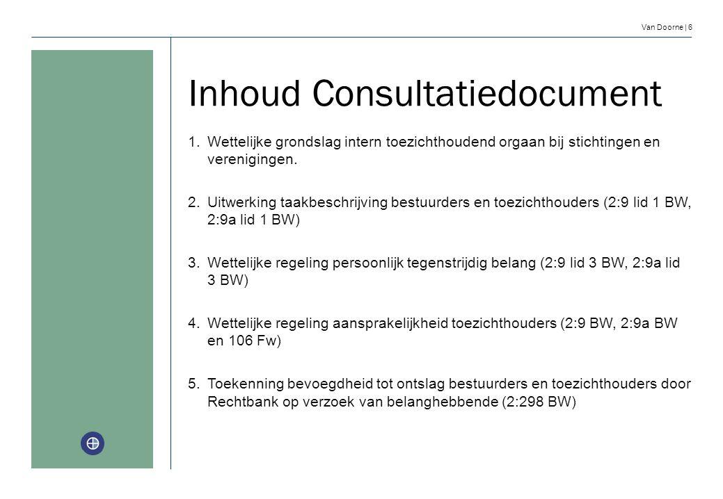 Van Doorne | 6 Inhoud Consultatiedocument 1.Wettelijke grondslag intern toezichthoudend orgaan bij stichtingen en verenigingen. 2.Uitwerking taakbesch