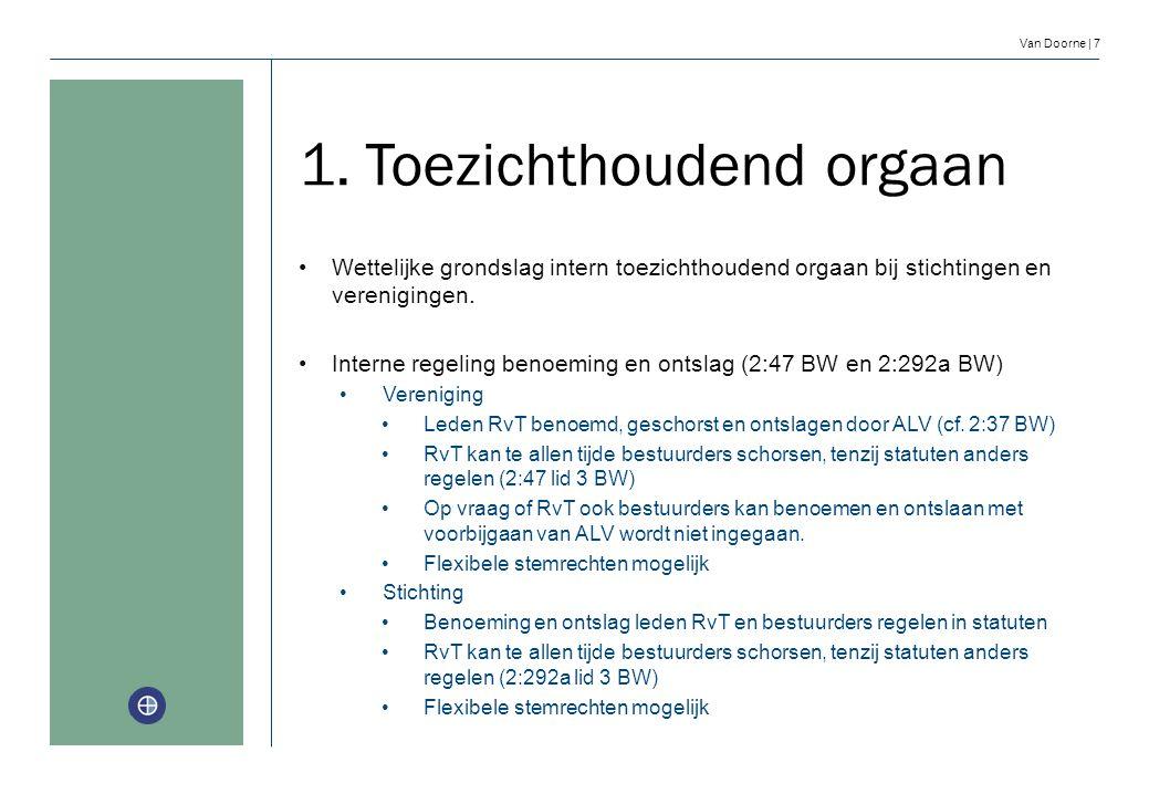 Van Doorne | 7 1. Toezichthoudend orgaan Wettelijke grondslag intern toezichthoudend orgaan bij stichtingen en verenigingen. Interne regeling benoemin