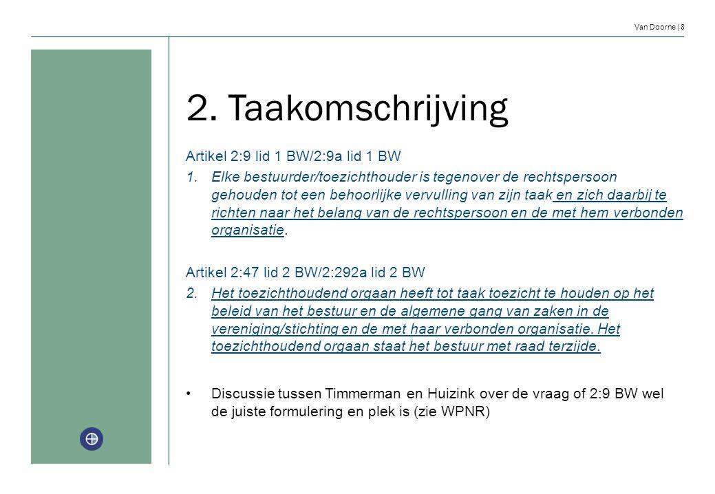 Van Doorne | 8 2. Taakomschrijving Artikel 2:9 lid 1 BW/2:9a lid 1 BW 1. Elke bestuurder/toezichthouder is tegenover de rechtspersoon gehouden tot een