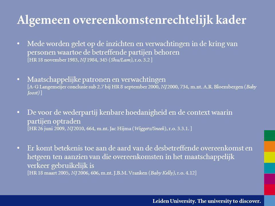 Leiden University. The university to discover. Algemeen overeenkomstenrechtelijk kader Mede worden gelet op de inzichten en verwachtingen in de kring
