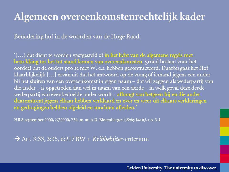 Leiden University. The university to discover. Algemeen overeenkomstenrechtelijk kader Benadering hof in de woorden van de Hoge Raad: '(…) dat dient t