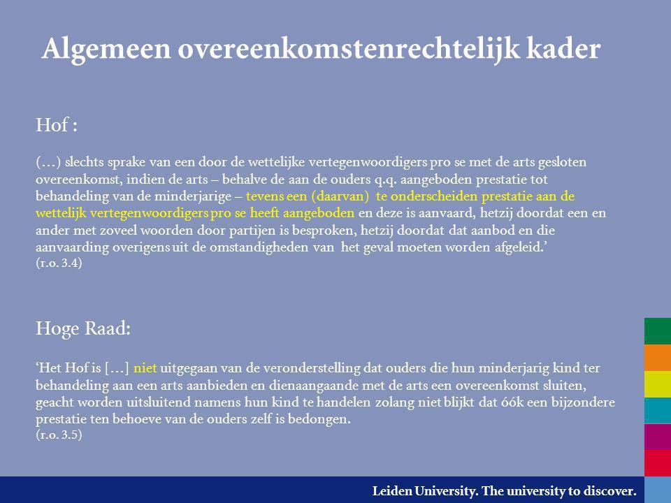 Leiden University. The university to discover. Algemeen overeenkomstenrechtelijk kader Hof : (…) slechts sprake van een door de wettelijke vertegenwoo