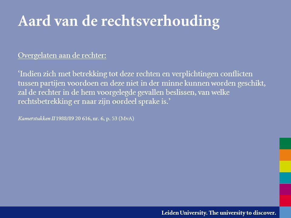 Leiden University. The university to discover. Aard van de rechtsverhouding Overgelaten aan de rechter: 'Indien zich met betrekking tot deze rechten e