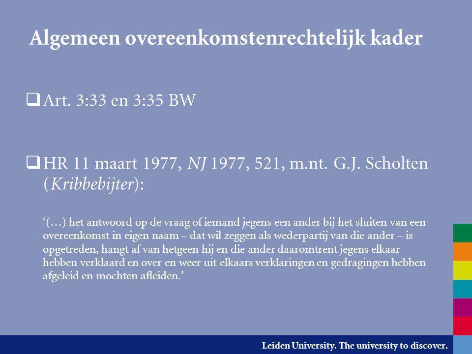 Leiden University. The university to discover. Algemeen overeenkomstenrechtelijk kader  Art. 3:33 en 3:35 BW  HR 11 maart 1977, NJ 1977, 521, m.nt.
