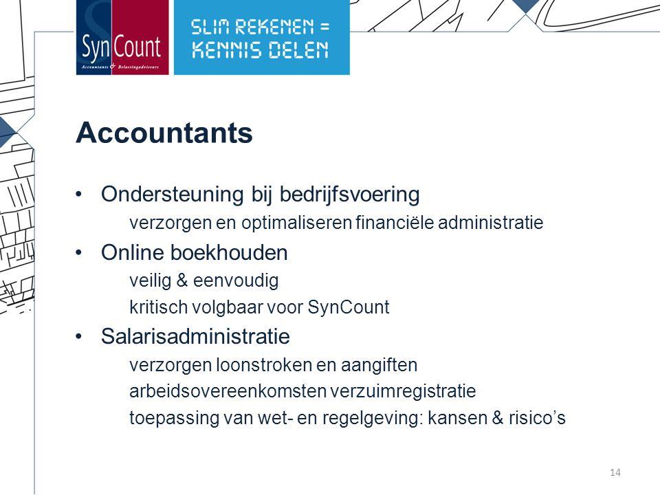 Accountants Ondersteuning bij bedrijfsvoering verzorgen en optimaliseren financiële administratie Online boekhouden veilig & eenvoudig kritisch volgbaar voor SynCount Salarisadministratie verzorgen loonstroken en aangiften arbeidsovereenkomsten verzuimregistratie toepassing van wet- en regelgeving: kansen & risico's 14
