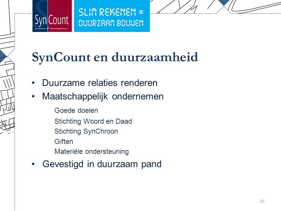 SynCount en duurzaamheid 20 Duurzame relaties renderen Maatschappelijk ondernemen Goede doelen Stichting Woord en Daad Stichting SynChroon Giften Materiële ondersteuning Gevestigd in duurzaam pand