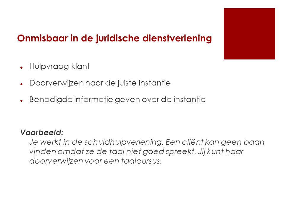 Onmisbaar in de juridische dienstverlening Hulpvraag klant Doorverwijzen naar de juiste instantie Benodigde informatie geven over de instantie Voorbee