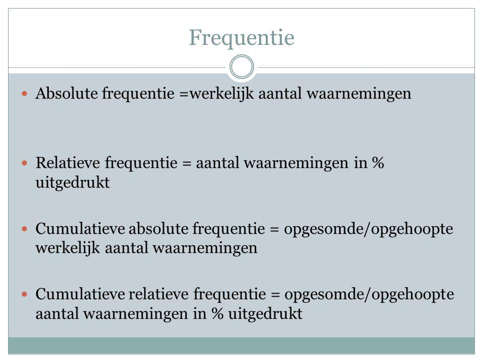 Frequentie Absolute frequentie =werkelijk aantal waarnemingen Relatieve frequentie = aantal waarnemingen in % uitgedrukt Cumulatieve absolute frequentie = opgesomde/opgehoopte werkelijk aantal waarnemingen Cumulatieve relatieve frequentie = opgesomde/opgehoopte aantal waarnemingen in % uitgedrukt