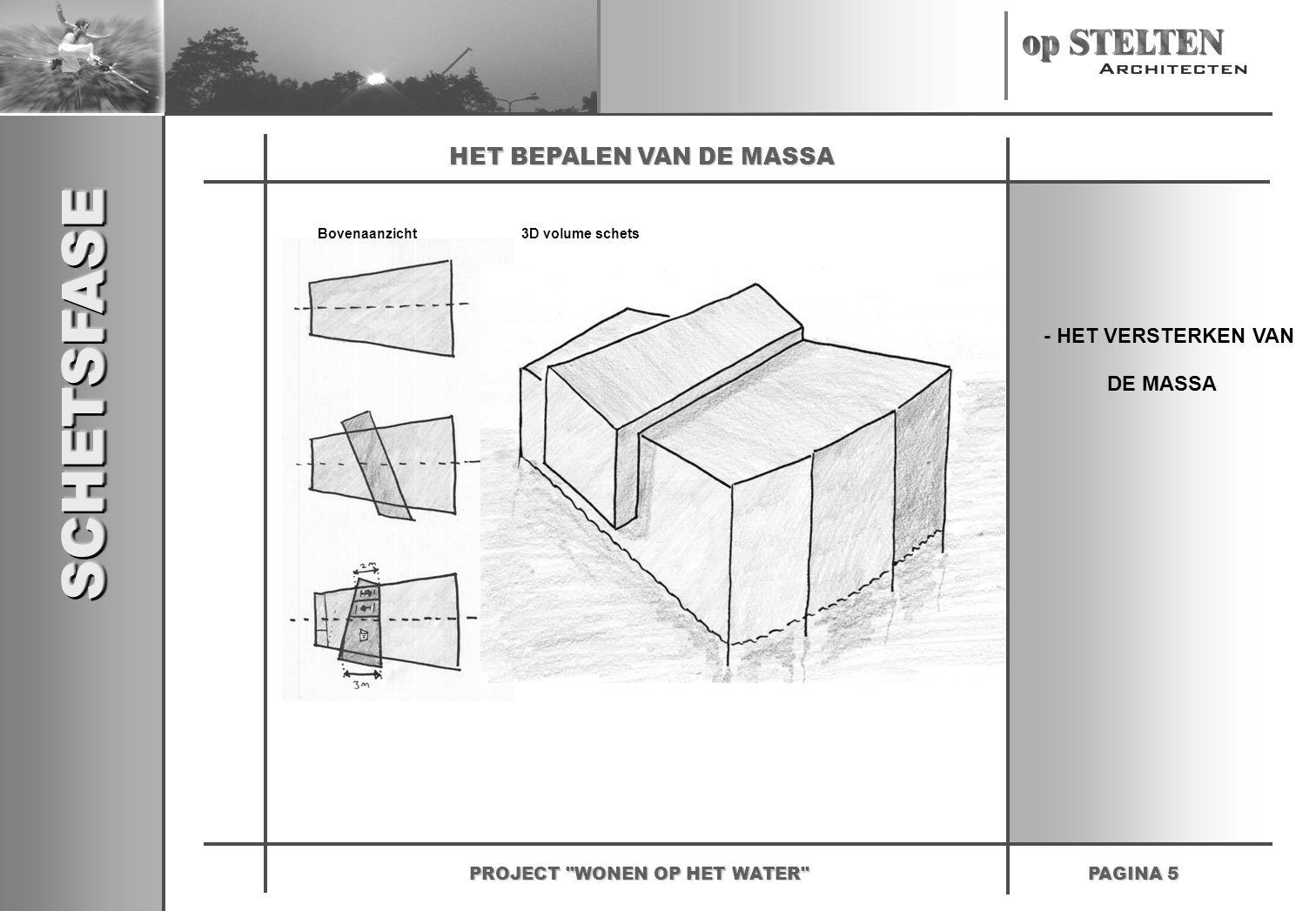 SCHETSFASESCHETSFASE PAGINA 5 PROJECT WONEN OP HET WATER HET BEPALEN VAN DE MASSA Bovenaanzicht3D volume schets - HET VERSTERKEN VAN DE MASSA