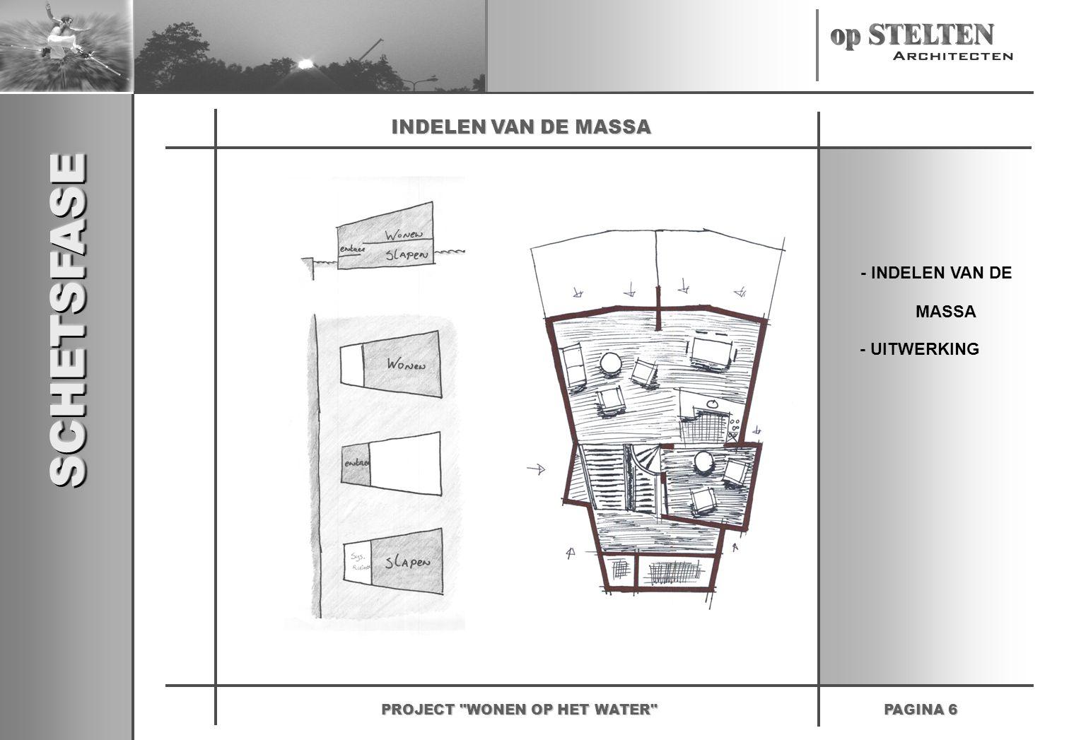 SCHETSFASESCHETSFASE PAGINA 6 PROJECT WONEN OP HET WATER INDELEN VAN DE MASSA - INDELEN VAN DE - UITWERKING MASSA