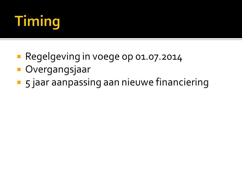  Regelgeving in voege op 01.07.2014  Overgangsjaar  5 jaar aanpassing aan nieuwe financiering