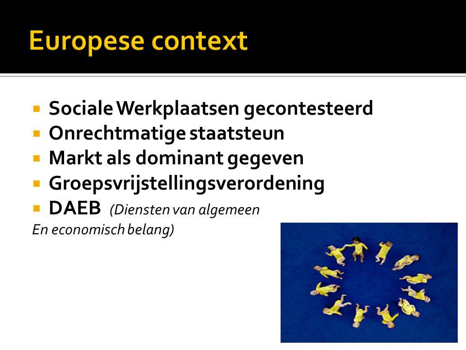  Sociale Werkplaatsen gecontesteerd  Onrechtmatige staatsteun  Markt als dominant gegeven  Groepsvrijstellingsverordening  DAEB (Diensten van algemeen En economisch belang)
