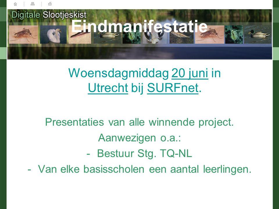 Eindmanifestatie Woensdagmiddag 20 juni in Utrecht bij SURFnet. Presentaties van alle winnende project. Aanwezigen o.a.: -Bestuur Stg. TQ-NL -Van elke