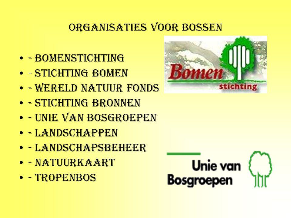 ORGANISATIES VOOR BOSSEN - Bomenstichting - Stichting bomen - Wereld natuur fonds - stichting bronnen - unie van bosgroepen - landschappen - landschap