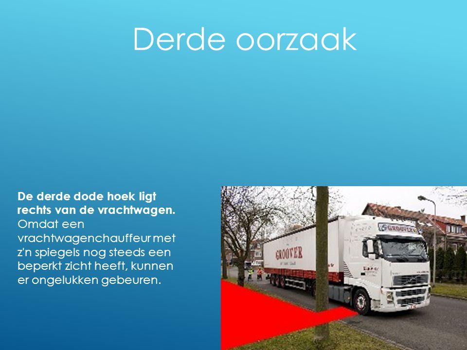 Derde oorzaak De derde dode hoek ligt rechts van de vrachtwagen. Omdat een vrachtwagenchauffeur met z'n spiegels nog steeds een beperkt zicht heeft, k