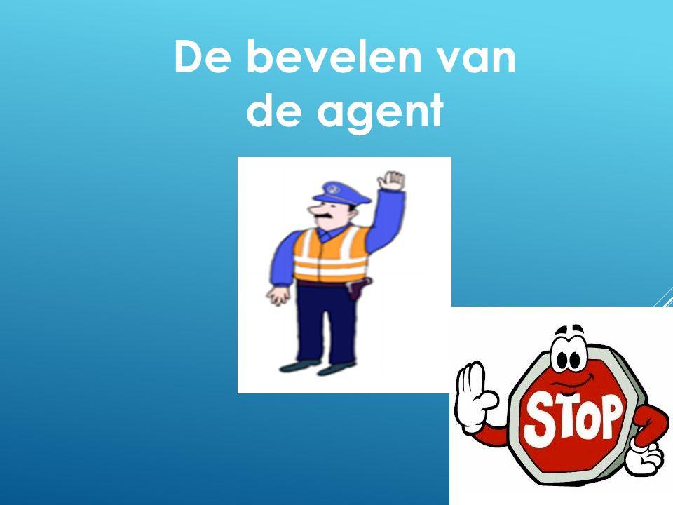 Hiermee wil de agent duidelijk maken dat de weggebruikers (voetgangers, fietsers, brom- en motorfietsers, autobestuurders), komende uit de richting voor of achter hem, moeten stoppen.
