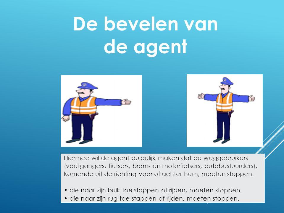 Hiermee wil de agent duidelijk maken dat de weggebruikers (voetgangers, fietsers, brom- en motorfietsers, autobestuurders), komende uit de richting vo