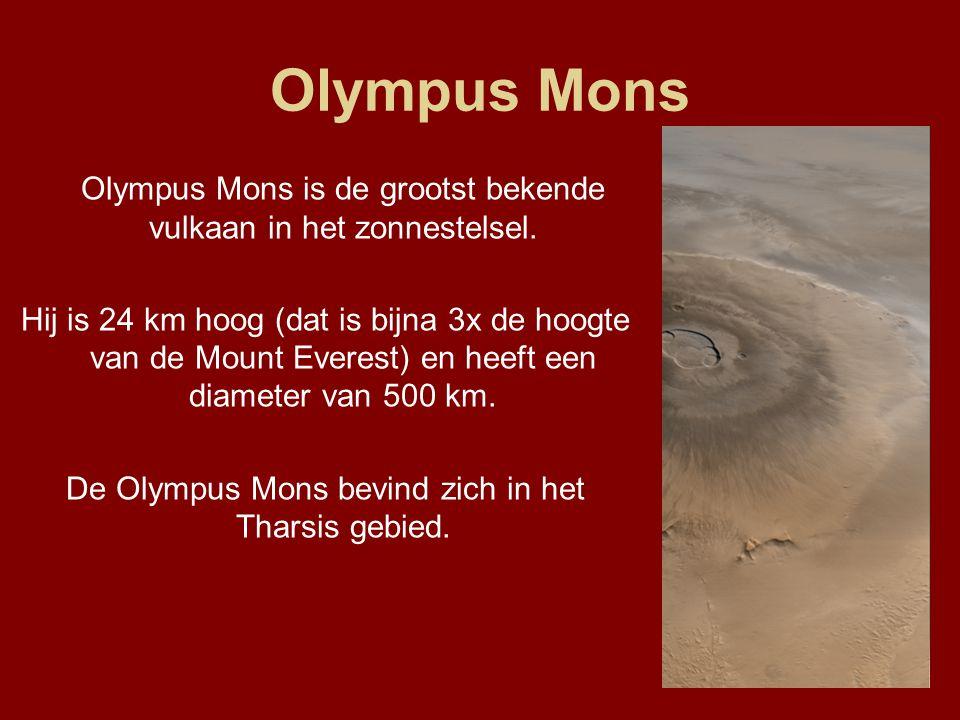 Olympus Mons Olympus Mons is de grootst bekende vulkaan in het zonnestelsel. Hij is 24 km hoog (dat is bijna 3x de hoogte van de Mount Everest) en hee