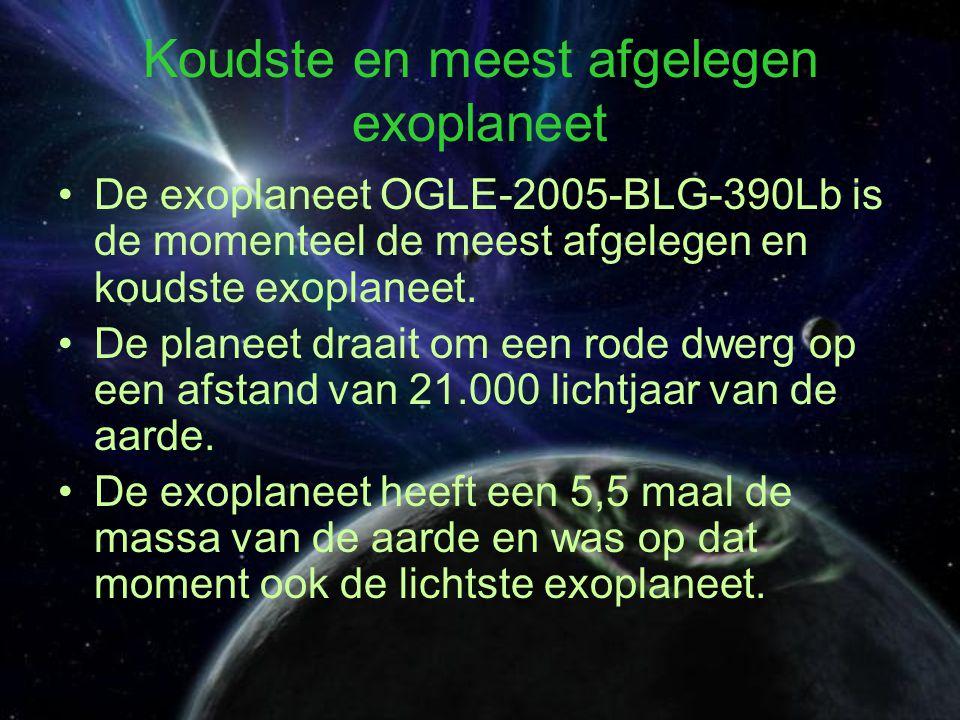 Koudste en meest afgelegen exoplaneet De exoplaneet OGLE-2005-BLG-390Lb is de momenteel de meest afgelegen en koudste exoplaneet.