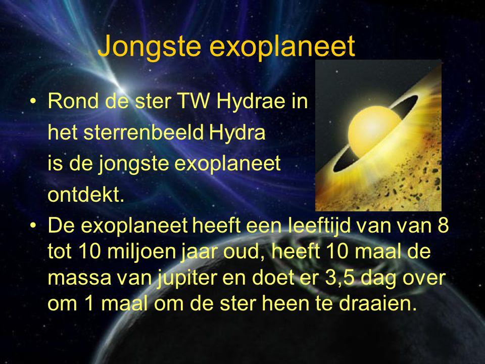 Jongste exoplaneet Rond de ster TW Hydrae in het sterrenbeeld Hydra is de jongste exoplaneet ontdekt.