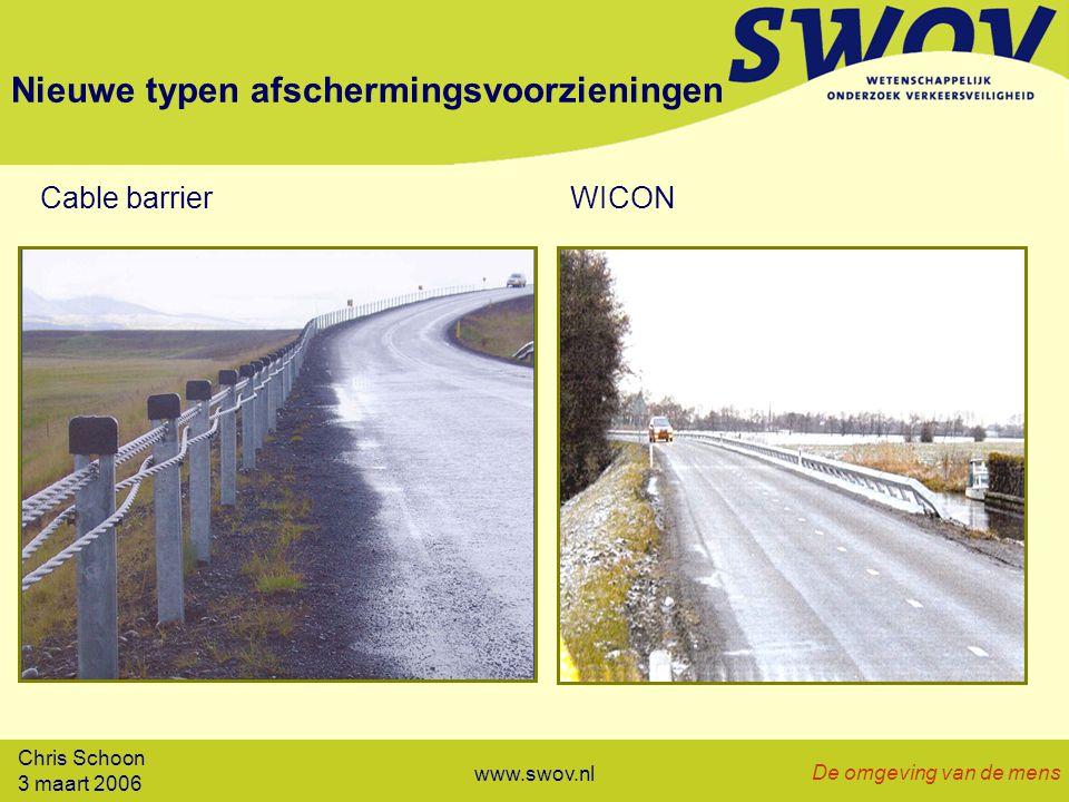 Chris Schoon 3 maart 2006 De omgeving van de mens www.swov.nl Nieuwe typen afschermingsvoorzieningen Cable barrierWICON