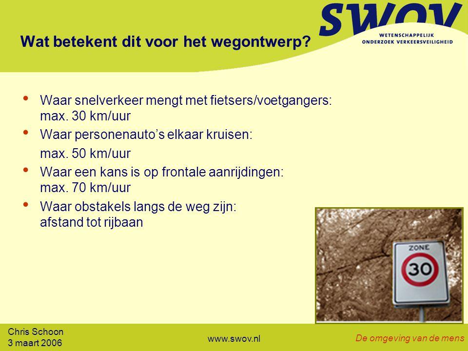 Chris Schoon 3 maart 2006 De omgeving van de mens www.swov.nl Wat betekent dit voor het wegontwerp.