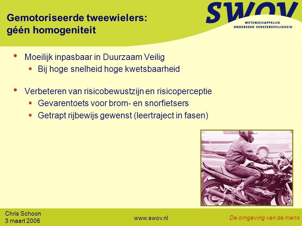 Chris Schoon 3 maart 2006 De omgeving van de mens www.swov.nl Gemotoriseerde tweewielers: géén homogeniteit Moeilijk inpasbaar in Duurzaam Veilig  Bij hoge snelheid hoge kwetsbaarheid Verbeteren van risicobewustzijn en risicoperceptie  Gevarentoets voor brom- en snorfietsers  Getrapt rijbewijs gewenst (leertraject in fasen)