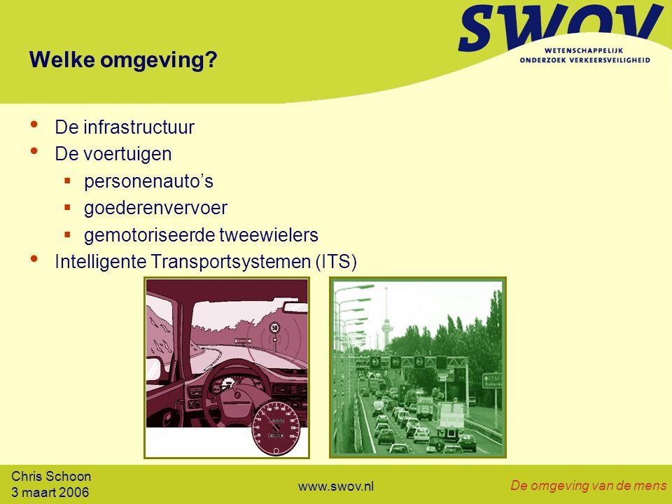 3 maart 2006 De omgeving van de mens www.swov.nl Welke omgeving.