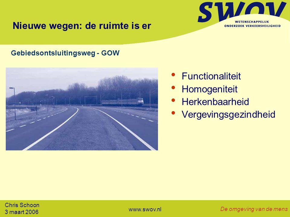 Chris Schoon 3 maart 2006 De omgeving van de mens www.swov.nl Nieuwe wegen: de ruimte is er Functionaliteit Homogeniteit Herkenbaarheid Vergevingsgezindheid Gebiedsontsluitingsweg - GOW