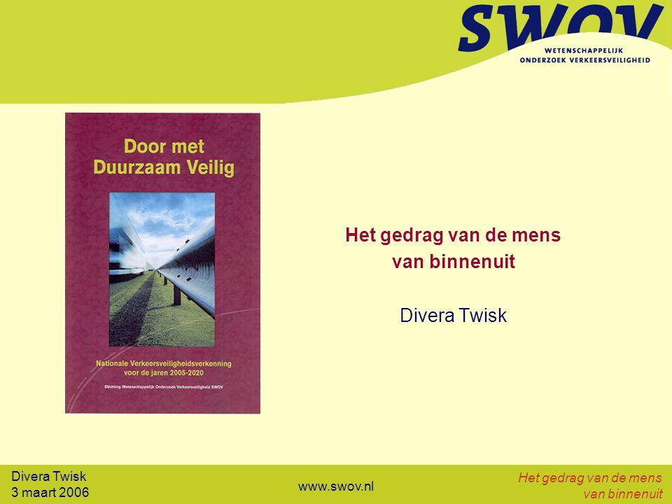 Divera Twisk 3 maart 2006 Het gedrag van de mens van binnenuit www.swov.nl Snelheid Probleem Massale snelheidsovertredingen (wel 50%) Grote acceptatie (geen spijt of schaamte) Maatregelen Afstemming vormgeving weg en limiet Educatie/voorlichting: snelheid-ongevallenkans Handhaving (zero tolerance): het werkt Op termijn ITC voor:  snelheidsbegrenzing  dynamische limieten