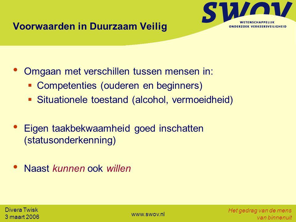 Divera Twisk 3 maart 2006 Het gedrag van de mens van binnenuit www.swov.nl