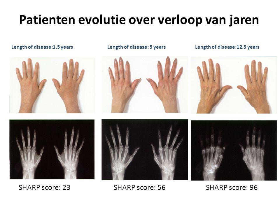 Patienten evolutie over verloop van jaren Length of disease:1.5 yearsLength of disease: 5 yearsLength of disease:12.5 years SHARP score: 23SHARP score