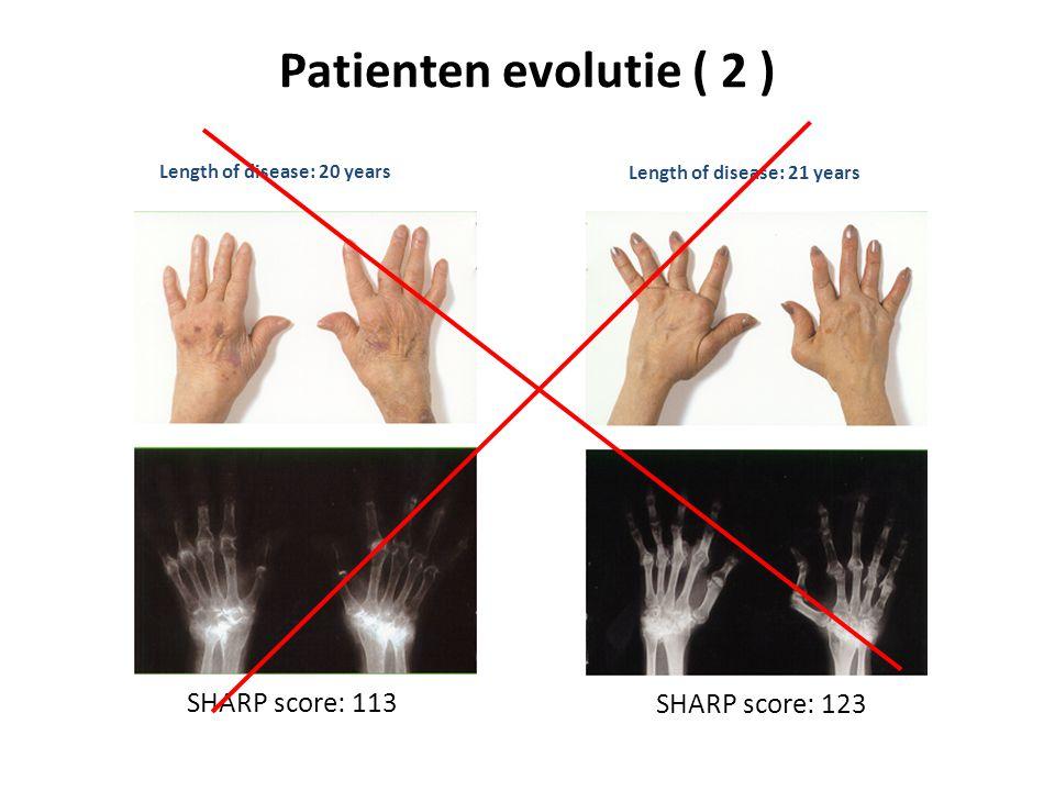 Patienten evolutie ( 2 ) Length of disease: 20 years SHARP score: 113 Length of disease: 21 years SHARP score: 123