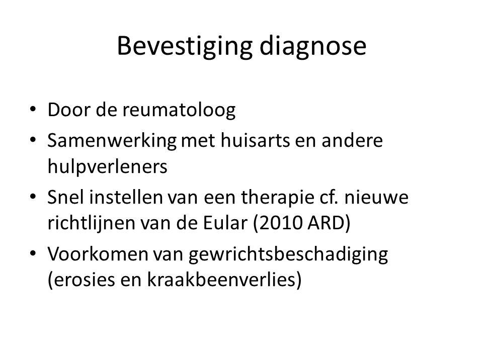 Bevestiging diagnose Door de reumatoloog Samenwerking met huisarts en andere hulpverleners Snel instellen van een therapie cf. nieuwe richtlijnen van