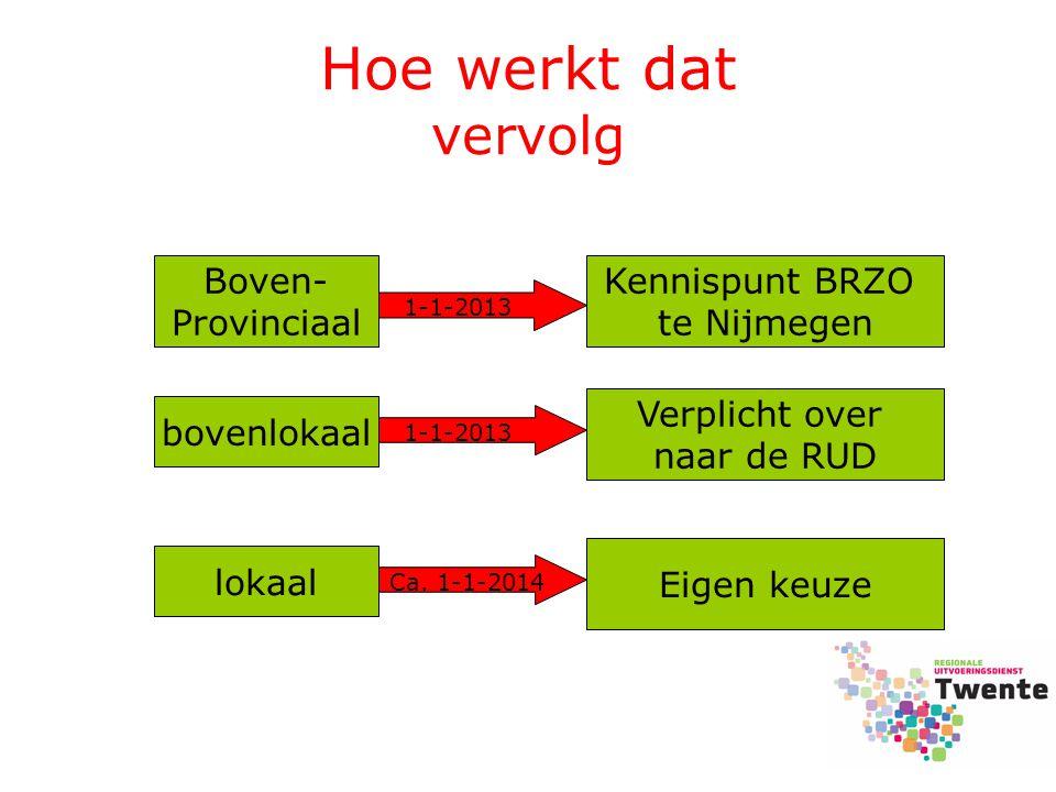 Hoe werkt dat vervolg bovenlokaal Boven- Provinciaal Kennispunt BRZO te Nijmegen Verplicht over naar de RUD Eigen keuze lokaal 1-1-2013 Ca. 1-1-2014