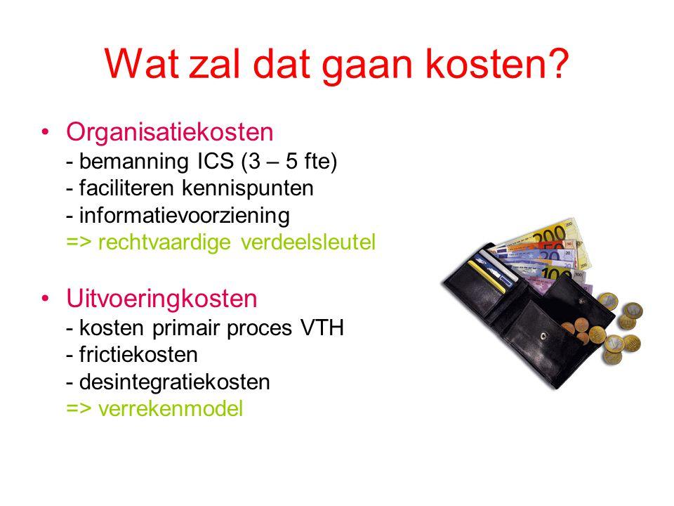 Wat zal dat gaan kosten? Organisatiekosten - bemanning ICS (3 – 5 fte) - faciliteren kennispunten - informatievoorziening => rechtvaardige verdeelsleu