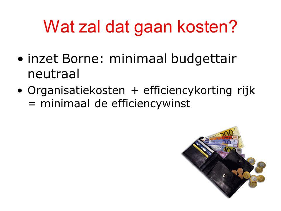 Wat zal dat gaan kosten? inzet Borne: minimaal budgettair neutraal Organisatiekosten + efficiencykorting rijk = minimaal de efficiencywinst
