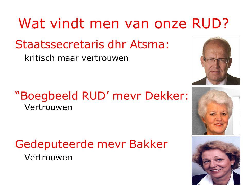 """Wat vindt men van onze RUD? Staatssecretaris dhr Atsma: kritisch maar vertrouwen """"Boegbeeld RUD' mevr Dekker: Vertrouwen Gedeputeerde mevr Bakker Vert"""