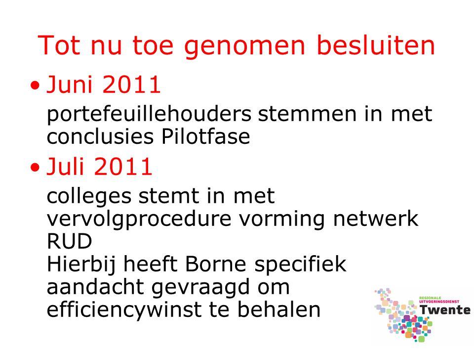 Tot nu toe genomen besluiten Juni 2011 portefeuillehouders stemmen in met conclusies Pilotfase Juli 2011 colleges stemt in met vervolgprocedure vormin