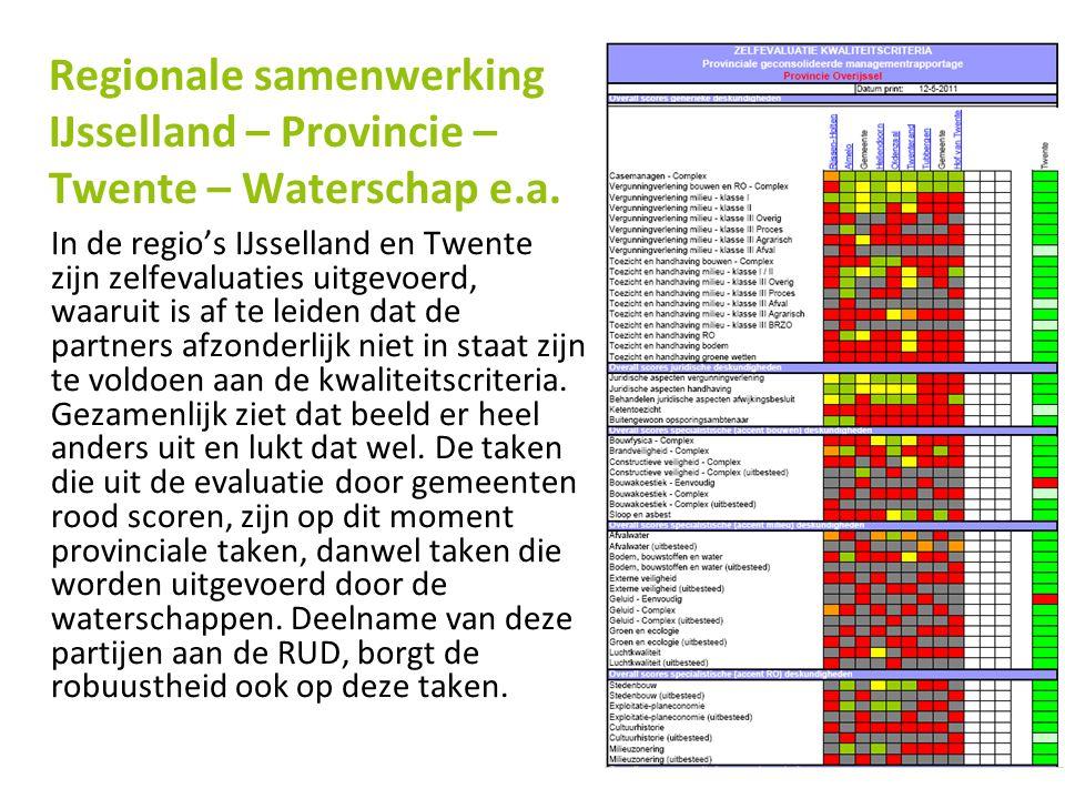 In de regio's IJsselland en Twente zijn zelfevaluaties uitgevoerd, waaruit is af te leiden dat de partners afzonderlijk niet in staat zijn te voldoen