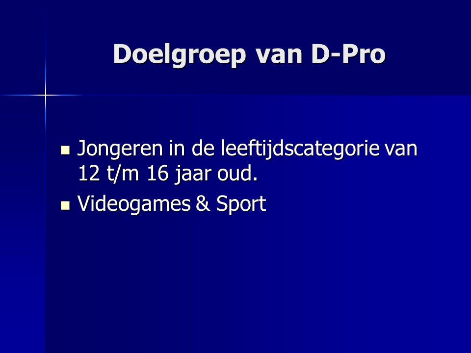 Doelgroep van D-Pro Jongeren in de leeftijdscategorie van 12 t/m 16 jaar oud.