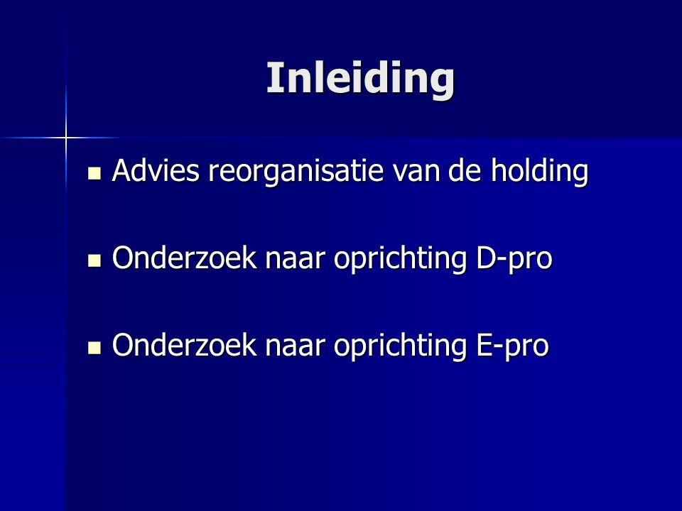 Inleiding Advies reorganisatie van de holding Advies reorganisatie van de holding Onderzoek naar oprichting D-pro Onderzoek naar oprichting D-pro Onderzoek naar oprichting E-pro Onderzoek naar oprichting E-pro